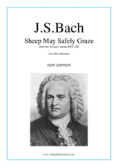 Cover icon of Sheep May Safely Graze sheet music for cello and piano by Johann Sebastian Bach, classical wedding score, easy skill level
