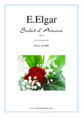 Cover icon of Salut d' Amour Op.12 (f.score) sheet music for string quartet by Edward Elgar, classical score, intermediate skill level