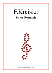 Cover icon of Schon Rosmarin sheet music for violin and piano by Fritz Kreisler, classical score, intermediate skill level