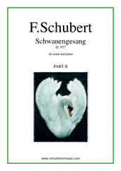 Cover icon of Schwanengesang D.957 (part II) sheet music for voice and piano by Franz Schubert, classical score, intermediate skill level