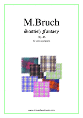 Cover icon of Scottish Fantasy Op.46 sheet music for violin and piano by Max Bruch, classical score, intermediate/advanced skill level