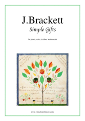 Cover icon of Simple Gifts sheet music for piano, voice or other instruments by Joseph Brackett, beginner skill level