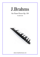 Cover icon of Six Piano Pieces Op.118 sheet music for piano solo by Johannes Brahms, classical score, intermediate/advanced skill level