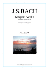 Cover icon of Sleepers Awake (COMPLETE) sheet music for string quartet by Johann Sebastian Bach, classical score, intermediate skill level