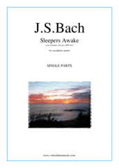 Cover icon of Sleepers Awake (parts) sheet music for saxophone quartet by Johann Sebastian Bach, classical score, intermediate skill level