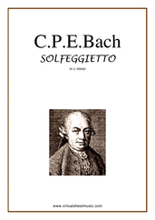 Cover icon of Solfeggietto in C minor sheet music for piano solo by Carl Philip Emanuel Bach, classical score, intermediate skill level