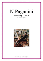 Cover icon of Sonata Op.3 No.6 sheet music for violin and guitar by Nicolo Paganini, classical score, intermediate duet