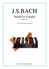 Cover icon of Sonata in A major BWV 1015 sheet music for violin and piano (or harpsichord) by Johann Sebastian Bach, classical score, intermediate skill level