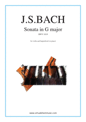 Cover icon of Sonata in G major BWV 1019 sheet music for violin and piano (or harpsichord) by Johann Sebastian Bach, classical score, intermediate skill level