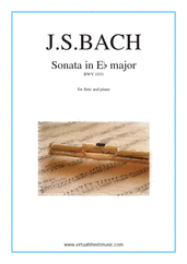 Cover icon of Sonata in E flat major BWV 1031 sheet music for flute and piano by Johann Sebastian Bach, classical score, intermediate skill level