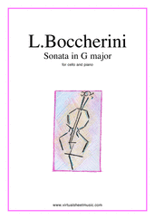Cover icon of Sonata in G major sheet music for cello and piano by Luigi Boccherini, classical score, intermediate/advanced skill level