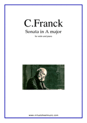 Cover icon of Sonata in A major (New Edition) sheet music for violin and piano by Cesar Franck, classical score, advanced skill level