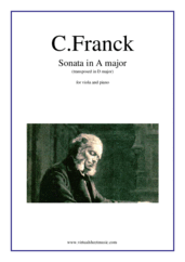 Cover icon of Sonata in A major (transposed in D major) sheet music for viola and piano by Cesar Franck, classical score, advanced skill level