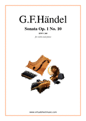Cover icon of Sonata Op.1 No.10 sheet music for violin and piano by George Frideric Handel, classical score, intermediate skill level