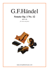 Cover icon of Sonata Op.1 No.12 sheet music for violin and piano by George Frideric Handel, classical score, intermediate skill level
