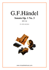 Cover icon of Sonata Op.1 No.3 sheet music for violin and piano by George Frideric Handel, classical score, intermediate skill level