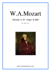 Cover icon of Sonata in Eb major K282 sheet music for piano solo by Wolfgang Amadeus Mozart, classical score, easy skill level