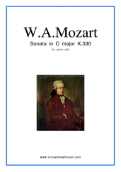 Cover icon of Sonata in C major K330 sheet music for piano solo by Wolfgang Amadeus Mozart, classical score, easy skill level