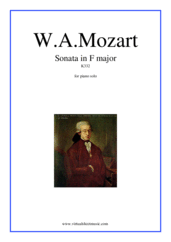 Cover icon of Sonata in F major K332 sheet music for piano solo by Wolfgang Amadeus Mozart, classical score, easy/intermediate skill level