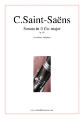 Cover icon of Sonata in E flat major Op. 167 sheet music for clarinet and piano by Camille Saint-Saens, classical score, intermediate/advanced skill level