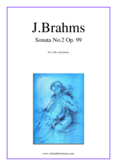 Cover icon of Sonata No.2 in F major sheet music for cello and piano by Johannes Brahms, classical score, intermediate/advanced skill level