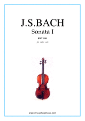 Cover icon of Sonata No.1 in G minor sheet music for violin solo by Johann Sebastian Bach, classical score, advanced skill level
