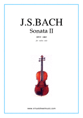 Cover icon of Sonata No.2 in A minor sheet music for violin solo by Johann Sebastian Bach, classical score, advanced skill level