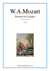 Cover icon of Sonata in G major K301 sheet music for violin and piano by Wolfgang Amadeus Mozart, classical score, intermediate skill level