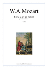 Cover icon of Sonata in Eb major K302 sheet music for violin and piano by Wolfgang Amadeus Mozart, classical score, intermediate skill level