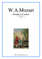Cover icon of Sonata in E minor K304 sheet music for violin and piano by Wolfgang Amadeus Mozart, classical score, intermediate skill level