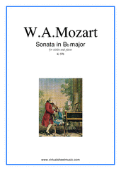 Cover icon of Sonata in Bb major K378 sheet music for violin and piano by Wolfgang Amadeus Mozart, classical score, intermediate skill level