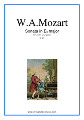 Cover icon of Sonata in Eb major K481 sheet music for violin and piano by Wolfgang Amadeus Mozart, classical score, intermediate skill level