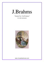 Cover icon of Sonata No.3 in D minor Op.108 sheet music for violin and piano by Johannes Brahms, classical score, advanced skill level