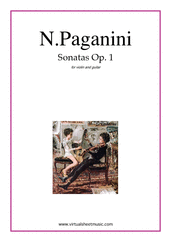 Cover icon of Sonatas Op.1, M.S. 9 sheet music for violin and guitar by Nicolo Paganini, classical score, intermediate duet