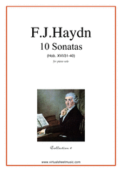Cover icon of Sonatas, coll.4 - Hob. XVI/31-40 sheet music for piano solo by Franz Joseph Haydn, classical score, easy/intermediate skill level