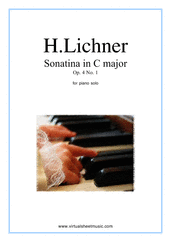 Cover icon of Sonatina in C major Op.4 No.1 sheet music for piano solo by Heinrich Lichner, classical score, easy skill level