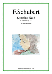 Cover icon of Sonatina No.2 Op.137 sheet music for violin and piano by Franz Schubert, classical score, easy/intermediate skill level