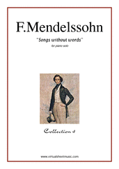 Cover icon of Songs Without Words - coll.4 sheet music for piano solo by Felix Mendelssohn-Bartholdy, classical score, intermediate skill level