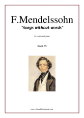 Cover icon of Songs Without Words Op. 26, Book VI sheet music for violin and piano by Felix Mendelssohn-Bartholdy, classical score, intermediate skill level