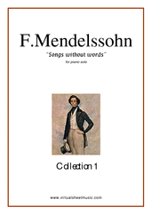 Cover icon of Songs Without Words (COMPLETE) sheet music for piano solo by Felix Mendelssohn-Bartholdy, classical score, intermediate skill level