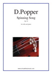 Cover icon of Spinning Song Op.55 sheet music for cello and piano by David Popper, classical score, advanced skill level