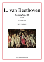 "Cover icon of Sonata Op.24 No.5 ""Spring"" (NEW EDITION) sheet music for violin and piano by Ludwig van Beethoven, classical score, intermediate skill level"