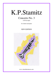 Cover icon of Concerto No.3 sheet music for clarinet and piano by Karl Philip Stamitz, classical score, intermediate skill level