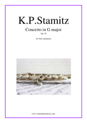 Cover icon of Concerto in G major Op. 29 sheet music for flute and piano by Karl Philip Stamitz, classical score, intermediate skill level
