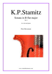 Cover icon of Sonata Op. 6 in Bb major, 1st movement sheet music for viola and piano by Karl Philip Stamitz, classical score, intermediate/advanced skill level