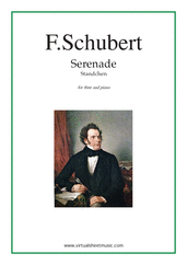"Cover icon of Serenade ""Standchen"" sheet music for flute and piano by Franz Schubert, classical score, intermediate skill level"