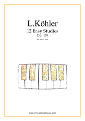 Cover icon of Easy Studies, 12 - Op.157 sheet music for piano solo by Louis Kohler, classical score, easy skill level