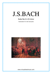 Cover icon of Suite No. 2 in B minor sheet music for violin and piano by Johann Sebastian Bach, classical score, intermediate skill level