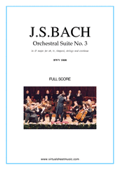 Cover icon of Orchestral Suite No.3 BWV 1068 (f.score) sheet music for orchestra by Johann Sebastian Bach, classical score, intermediate skill level