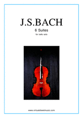 Cover icon of Suites sheet music for cello solo by Johann Sebastian Bach, classical score, advanced skill level